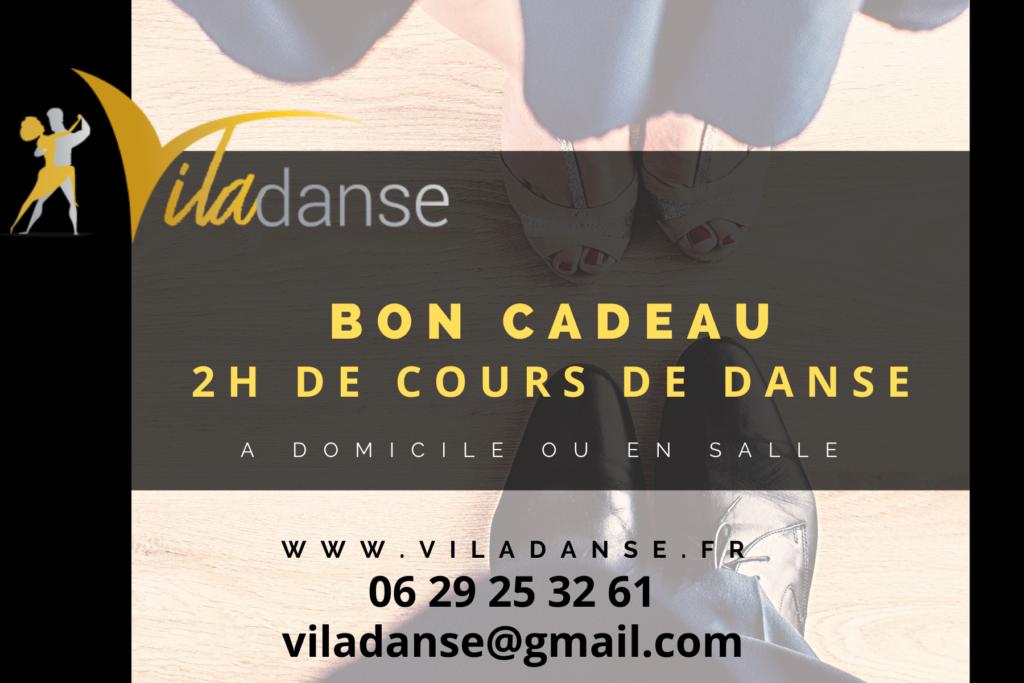 Bon cadeau Viladanse. Offrez des cours de danses de salon et danses de couple à votre amie, votre femme, vos proches. Nos professeur de danse se déplacent à Bordeaux Gironde et sa périphérie, jusqu'à libourne. Danses latines tous niveaux.